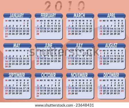 Calendar for the year 2010. Peach background. Each month on light blue background