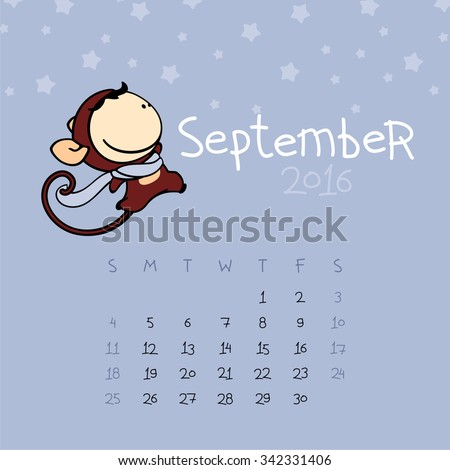 Calendar for the year 2016 - September - stock vector