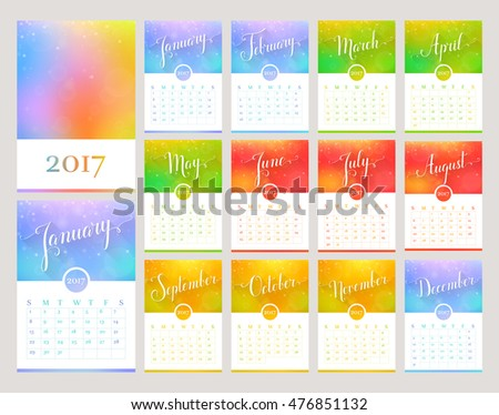 Vector 2017 Calendar Template Colorful Triangle Stock Vector