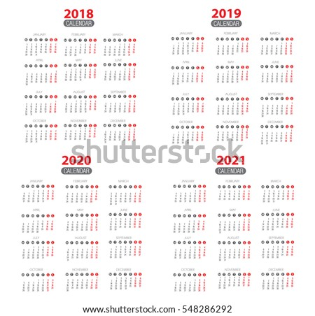 Calendar for 2018, 2019, 2020, 2021. Vector EPS10