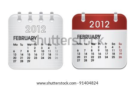 Calendar for 2012, web icon collection, February, vector illustration - stock vector