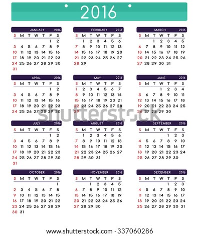 Calendar for 2016. Week Starts Sunday. Clean and Simple Vector Template