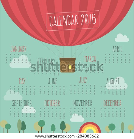 Calendar for 2016 with ballroom - stock vector