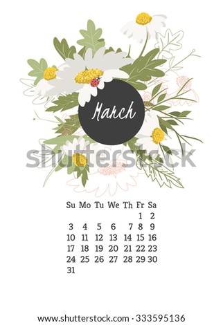 Calendar for 2016 with flowers chamomile  for your design