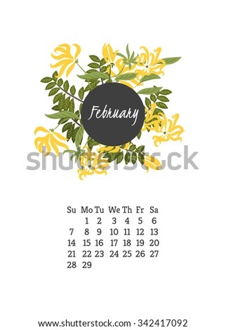 Calendar for 2016 with flowers ylang-ylang for your design
