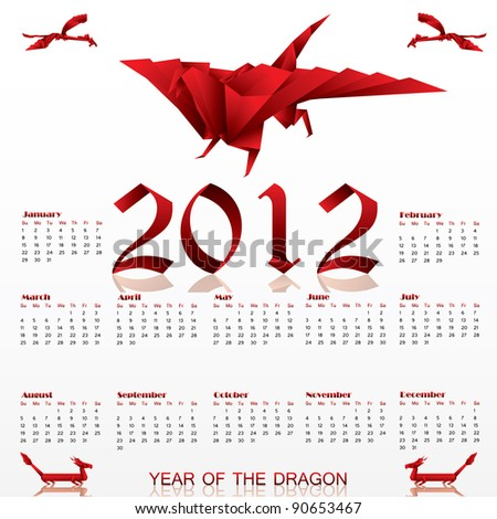 Calendar For 2012 With Origami Red Dragon