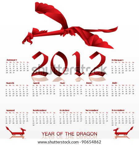 Calendar for 2012 with Origami red Dragon!