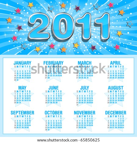Calendar for 2011 with shiny stars and sunburst, weeks start on Sunday - stock vector