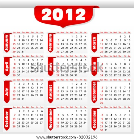 Calendar for 2012 with sticker, element for design, vector illustration - stock vector
