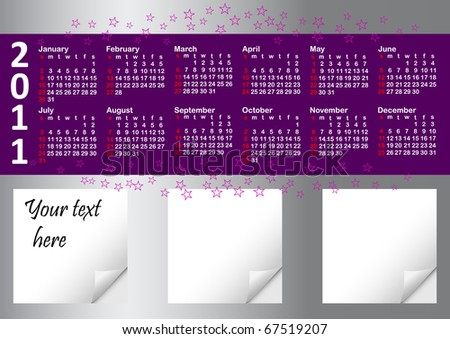 calendar for year 2011 against silver background with note papers.