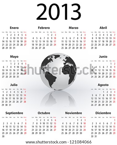 Calendar for 2013 year in Spanish with the world globe. Mondays first. Vector illustration - stock vector