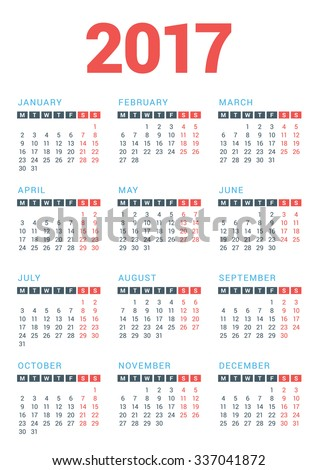 Calendar for 2017 Year on White Background. Week Starts Monday. Vector ...