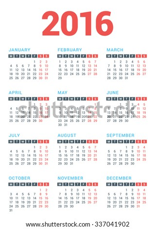 Calendar for 2016 Year on White Background. Week Starts Monday. Vector Design Print Template - stock vector