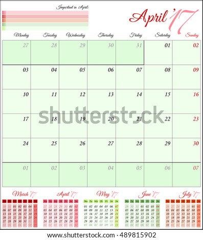 Calendar for 2017 year. Planner template. Vector design print template. Week starts Monday. Set of 12 calendar pages. Stationery design