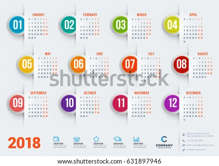 Calendar for 2018 year. Vector design stationery template. Week starts on Monday. Flat style color vector illustration. Yearly calendar template