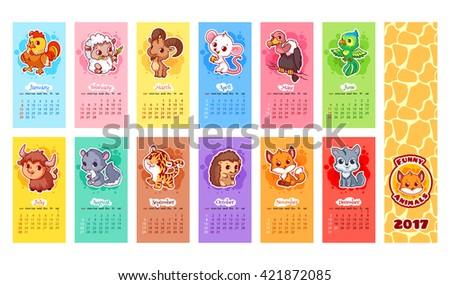 Calendar 2017 Year Animals Week Starts Stock Vector 2018 421872085