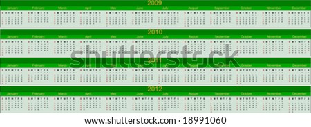Calendar for years 2009 to 2012