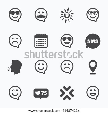 Calendar, go to web and like counter. Smile speech bubbles icons. Happy, sad and wink faces signs. Sunglasses, mustache and laughing lol smiley symbols. Sms speech bubble, talk symbols. - stock vector