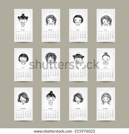 Calendar grid 2015, cute girls design - stock vector