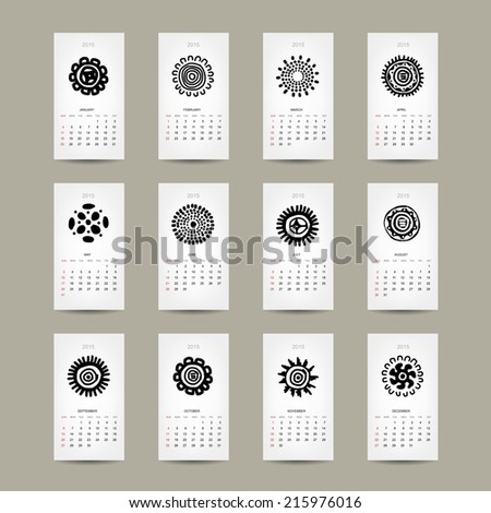 Calendar grid 2015 for your design, ethnic ornament - stock vector