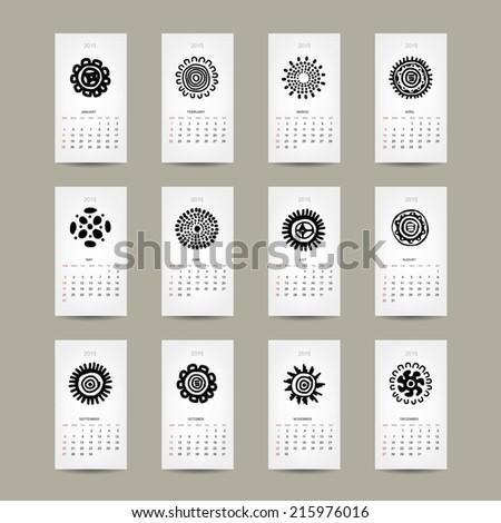 Calendar grid 2015 for your design, ethnic ornament - stock vector