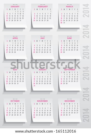 calendar grid of 2014 year on realistic paper stickers - stock vector