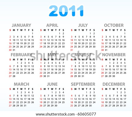 Calendar grid 2011 year english
