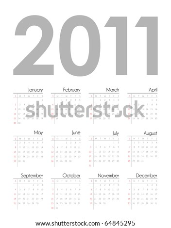 Calendar grid 2011 year english - stock vector