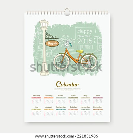 Calendar 2015, happy new year enjoy bicycle design sketching landscape building background, vector illustration - stock vector