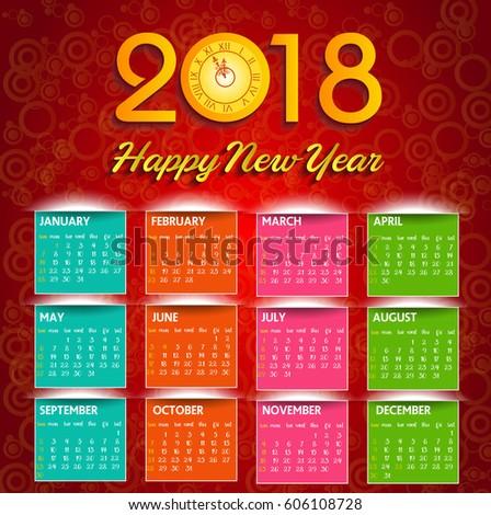 Calendar 2018 Happy New Year Vector Stock Vector 606108728 ...