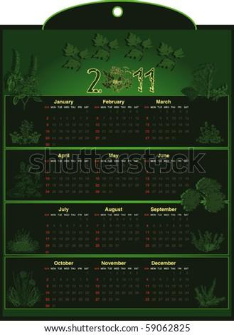 Calendar herb 2011 vector - stock vector
