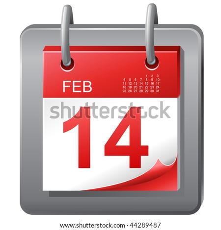 "Calendar icon ""February the fourteenth"" - stock vector"