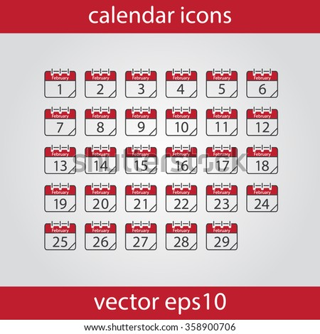 Calendar icon, vector eps10 illustration. Calendar Date.  Modern icons for your work: document, presentation, web and mobile applications, infographic,cover, poster, report, flyer. Month February - stock vector