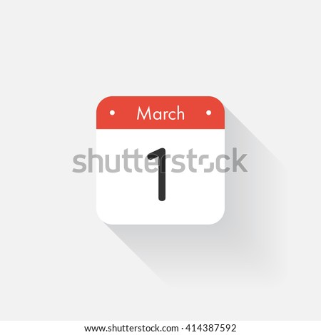 Calendar Icon with long shadow. Flat style. Date,day and month. Reminder. Vector illustration. Organizer application, app symbol. Ui. User interface sign. March.1 - stock vector