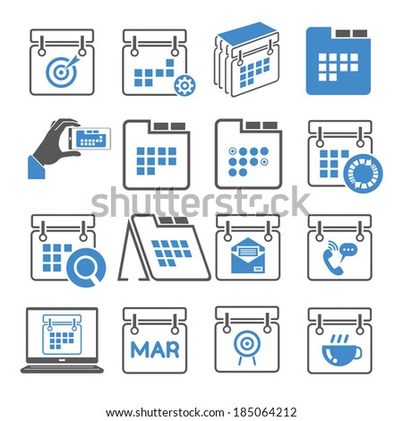 calendar icons set, blue icons - stock vector