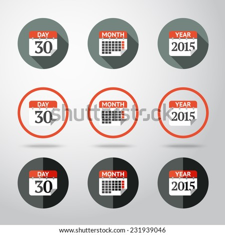 Calendar icons set - year, month, day. Different kinds of flat style. Vector - stock vector