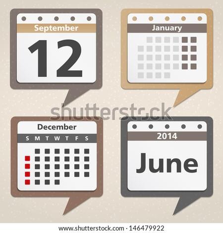 Calendar Icons, vector eps10 illustration - stock vector