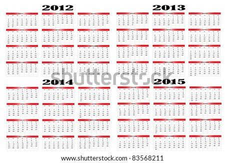 Calendar in Spanish 2012-2013-2014-2015 - stock vector