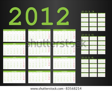 Calendar in Spanish 2012-2013-2014-2015 - stock vector