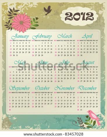 Calendar 2012 in vintage design - stock vector