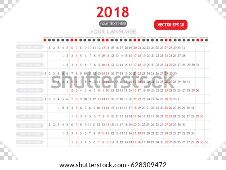 calendar your language sample your text stock vector 628309472