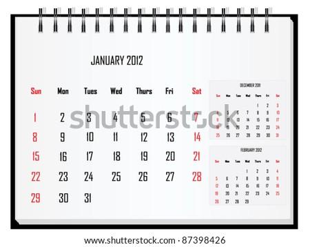 Calendar 2012 January - stock vector