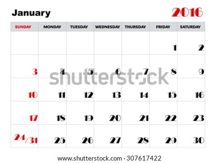 Calendar January 2016 in English  - stock vector