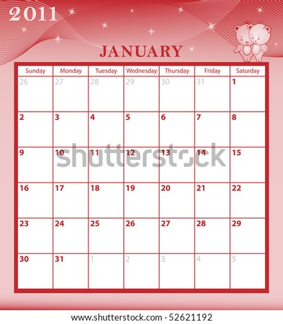 Calendar 2011 January month with large date boxes. Cartoon characters and patterned background. January to December months plus raster also available. - stock vector
