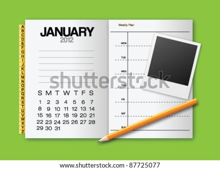 Calendar 2012 January stationery vector - stock vector