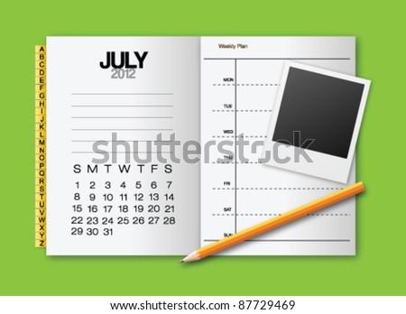 Calendar 2012 July stationery vector - stock vector