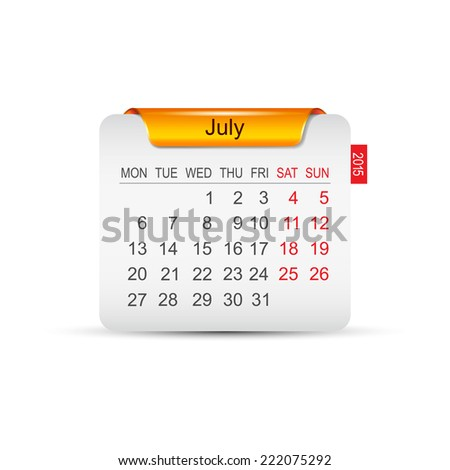 Calendar July 2015. Vector illustration  - stock vector