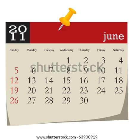 Calendar-june 2011 - stock vector