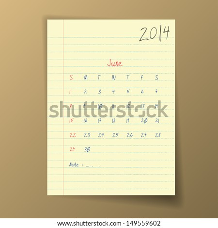 Calendar 2014 June in sketch style on notebook sheet. Vector illustration.