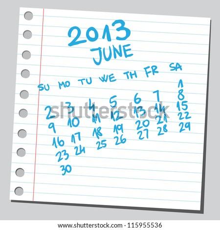 Calendar 2013 june (sketch style) - stock vector